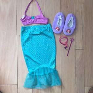 Girls Little Mermaid ❤️ Dress Up Set Slippers 3T